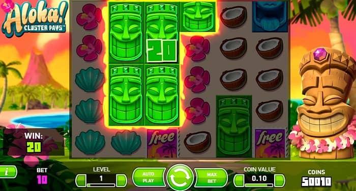 Геймплей игрового автомата Aloha Cluster Pays