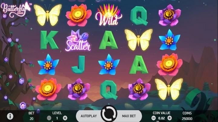 Геймплей игрового автомата Butterfly Staxx