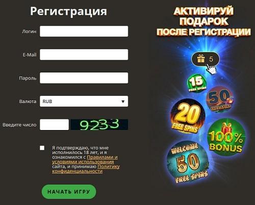 Регистрационная форма в казино Плей Фортуна